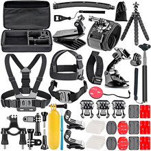 50 en 1 sport caméra accessoires Kit Selfie bâton sac de rangement tête sangle poitrine ensemble pour Gopro SJCAM Xiaomi Yi Dji Osmo Action