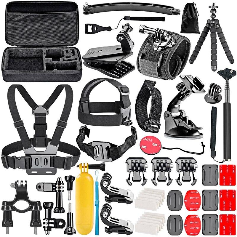 50 In 1 Sports Camera Accessories Kit Selfie Stick Storage Bag Head Strap Chest Set For Gopro SJCAM Xiaomi Yi Dji Osmo Action