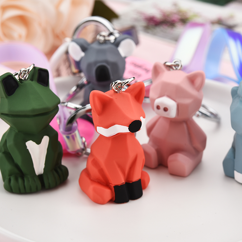 New Unicorn Pig Fox Frog Keychains Charm Key Ring Holder Key chain Fancy Toy for Women Car or Bag Jewelry Gift Pendant EH359(China)