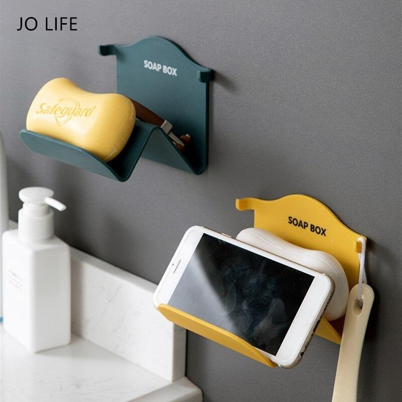 JO LIFE Bathroom Storage Rack Portable Travel Toilet Soap Sponge Holder Tray Wall Mounted Phone Holder Kitchen Storage Shelf