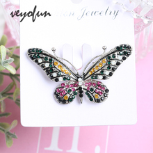 Veyofun Butterfly Rhinestone Brooches for Women 4 Colour Fashion ZA Jewelry Pins Gift
