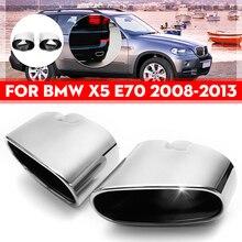 Par de tubo de escapamento cromado, cano de escape duplo, aço inoxidável, para bmw x5 e70 2008 2009 2010 2011 2012 acessórios automotivos