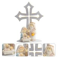 1pc Metal Standing Cross Chic Holy Cross Decor Novelty Desktop Cross Ornament