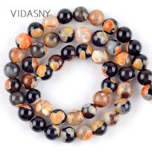 Orange Fire Agates Natural Round Stone Beads For Needlework Jewelry Making 6 8 10mm Spacer Diy Bracelet Necklace 15