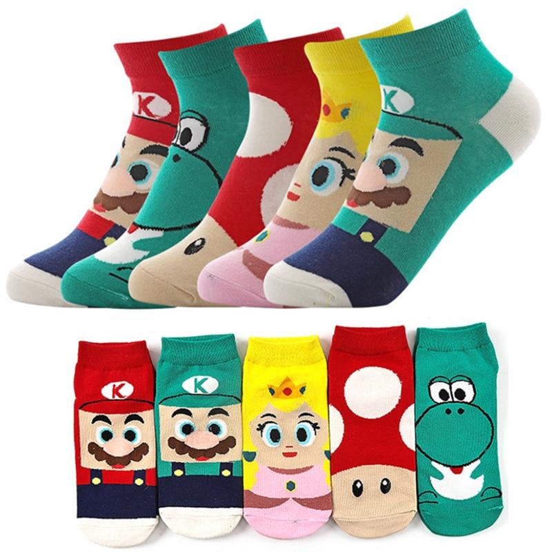 5 Pairs/Set /Super Mario Bros Socks Men Women Sports Cartoon Ankle Socks Breathable Cotton Adult Short Sock