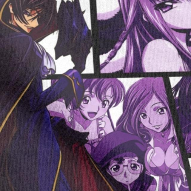 Code Geass Collage T Shirts Camisas Men's T-Shirts O Neck Lelouch Rebellion Anime Britannia Manga CC Suzaku  Shirt 5