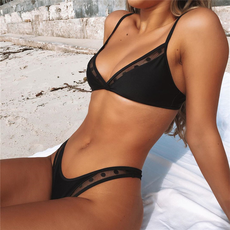 Swimwear <font><b>Women</b></font> <font><b>Sexy</b></font> Black Mesh <font><b>Bikini</b></font> 2020 Female Swimsuit Push Up Biquini Bathing Suit Thong Brazilian <font><b>Bikinis</b></font> Set Swim Wear image