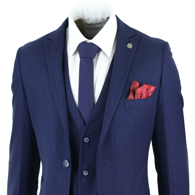 2020 Blue Mens Suits Pin Stripe Double Breasted 1920's Gatsby Peaky Blinders Mafia Suit 3 Piece Two Button Men Suit