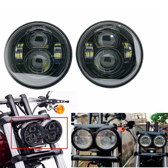 For  Davidson Dyna Fat Bob Black 4.65 inch Motor Style Head Lights for FXDF Dyna Fatbob Led Motor Projector