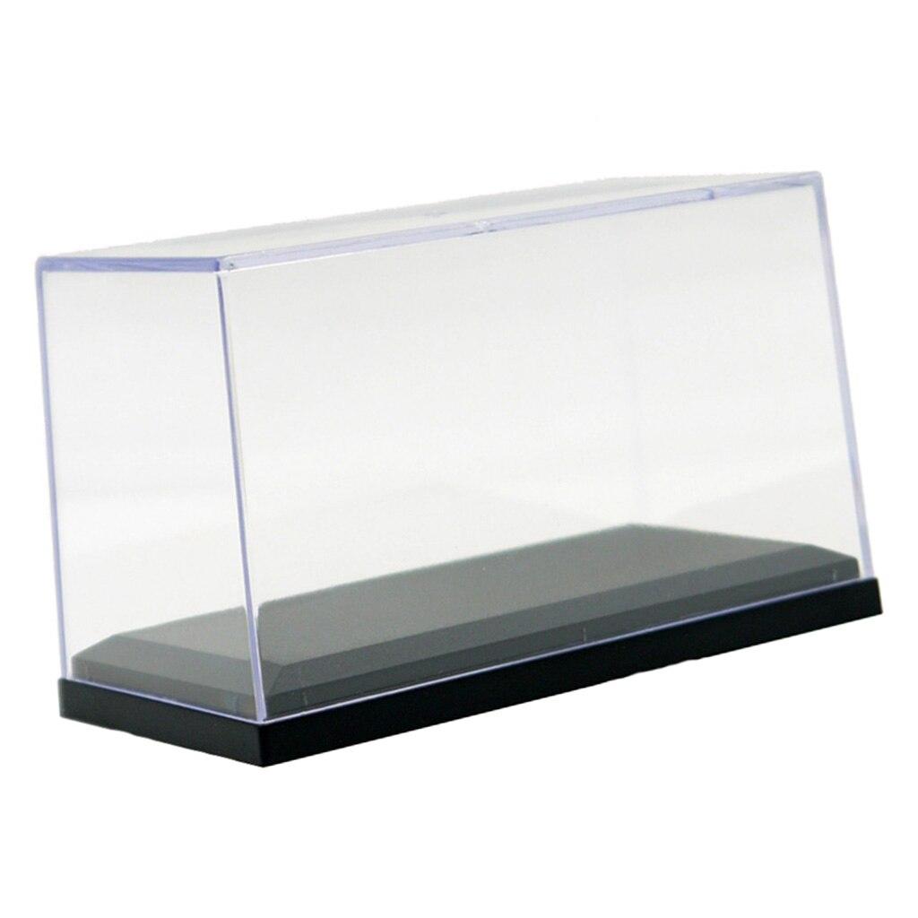 Caixa de exibição acrílica clara vitrine com base de balck apto para 1:64 modelo