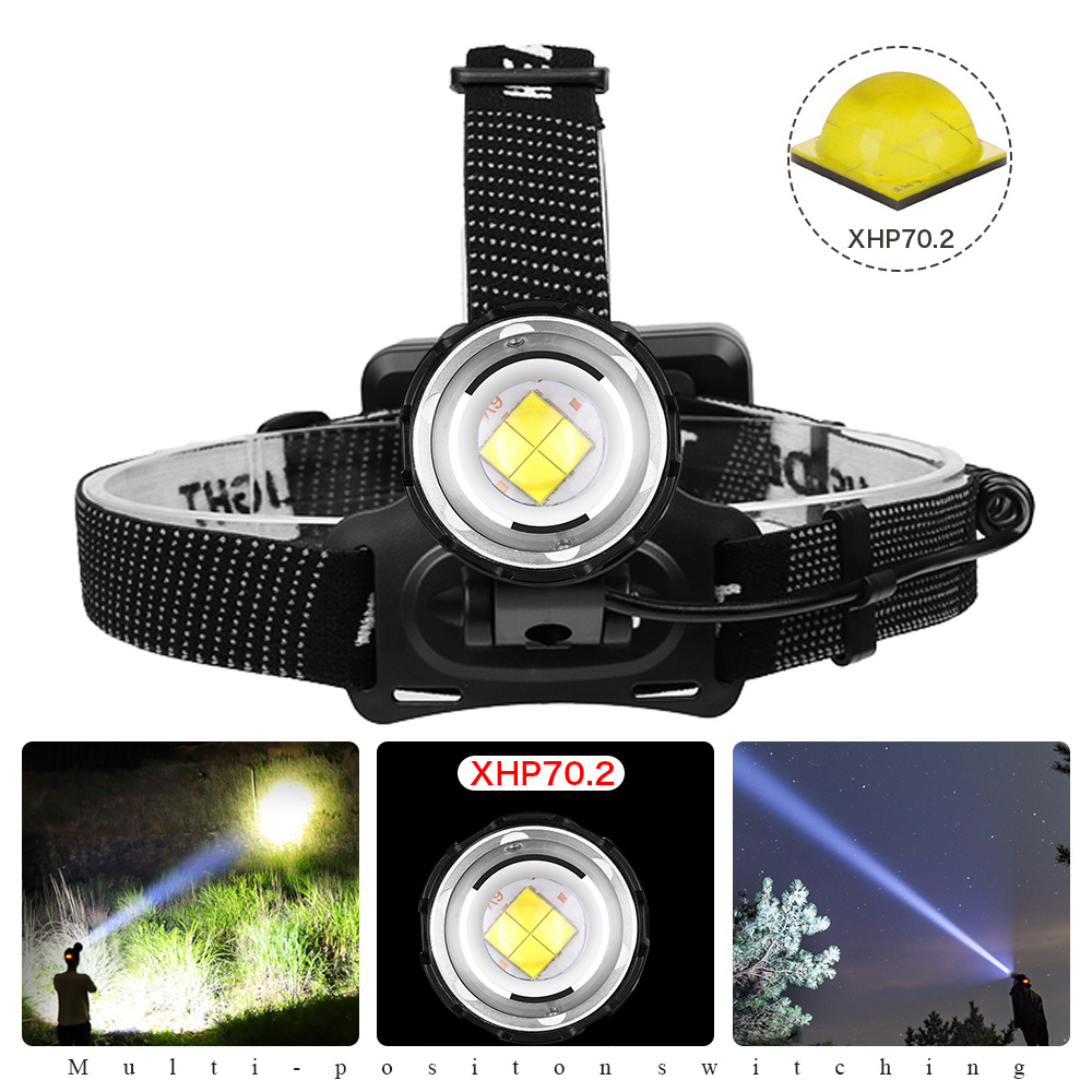 XHP70.2 headlamp most powerful led headlight 3 modes Zoom lamp Waterproof Head Torch flashlight Head lamp use 18650 For camping