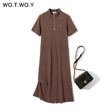 WOTWOY Spring Summer Knit Women Dresses 2020 Casual Mouse Ca