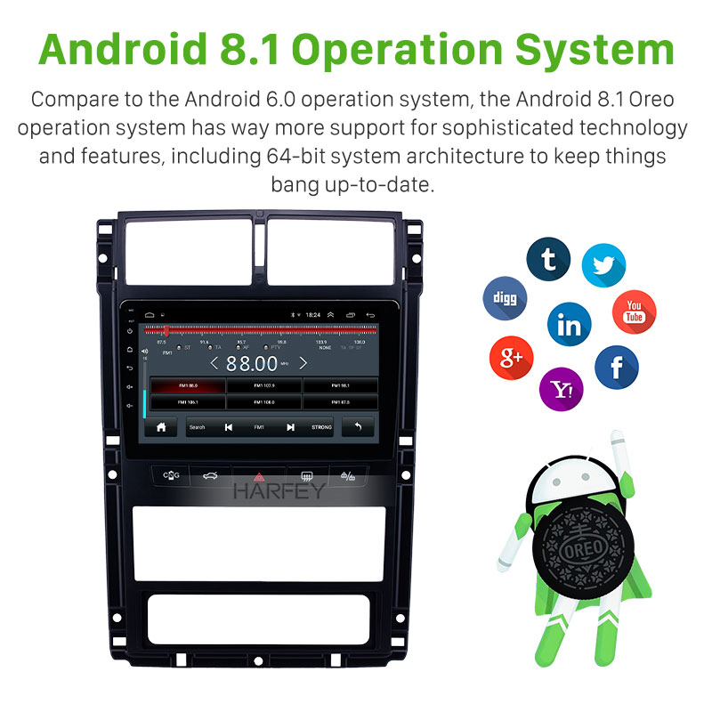 Harfey Auto 9 Navi Android 8.1 Auto Radio Gps Head Unit Voor Peugeot 405 Audio Navi Autostereo Ondersteuning Carplay achteruitrijcamera OBD2 - 3