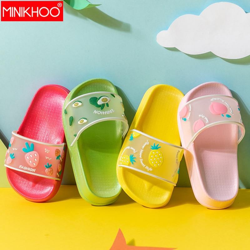 2020 New Children Slipper Boy Girl Beach Avocado Flip Flops Cartoon Shoes Fruit Slippers Kids Cute Transparent Summer Flip Flop