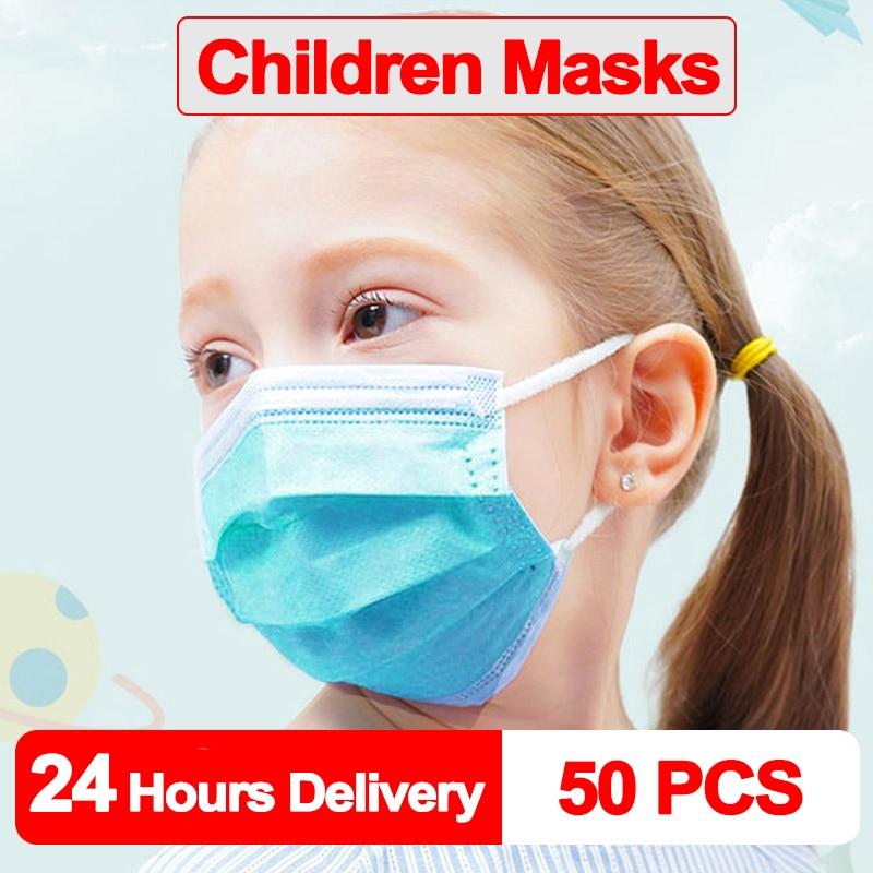 100 PCS Kids Mask Fast Delivery Disposable Protective Mask To Safety Masks Dustproof Children Masks Child Prevent Disease Mask