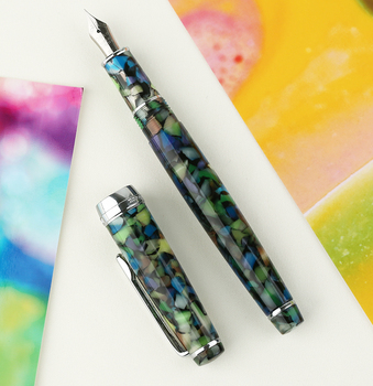NEW DELIKE Fountain Pen Newmoon 2 Gemstone Green Acrylic Resin Iridium EF/F/Small Bent Writing Pen Gift Set for Business Office lorelei acrylic resin transparent fountain pen quality iridium ef f 0 38 0 5mm with converter gift ink pen for business office