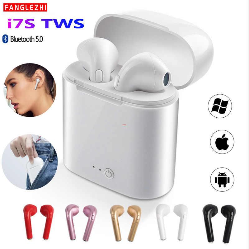 Mini Bluetooth Headphone Nirkabel I7 I7s Tws Bluetooth Earphone Sport Earbud Stereo Headset dengan Pengisian untuk Semua Smart Phone