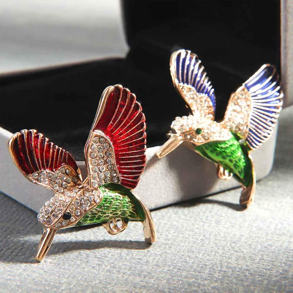 Indah Hewan Burung Enamel Bros Kerah Pin Hewan Kreatif Berlian Imitasi Korsase Kristal Bros Wanita Suit Fashion Perhiasan