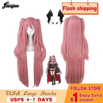 цена на Ebingoo Krul Tepes Wig Pink Synthetic Cosplay Wig Double Ponytail Natural Long Straight Wig for Women Costume Party