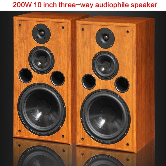 200W High-power Audio Speaker 10-inch Three-way Bookshelf Floor-to-ceiling Hifi Audio Passive Home Theater Enthusiast Speaker 1