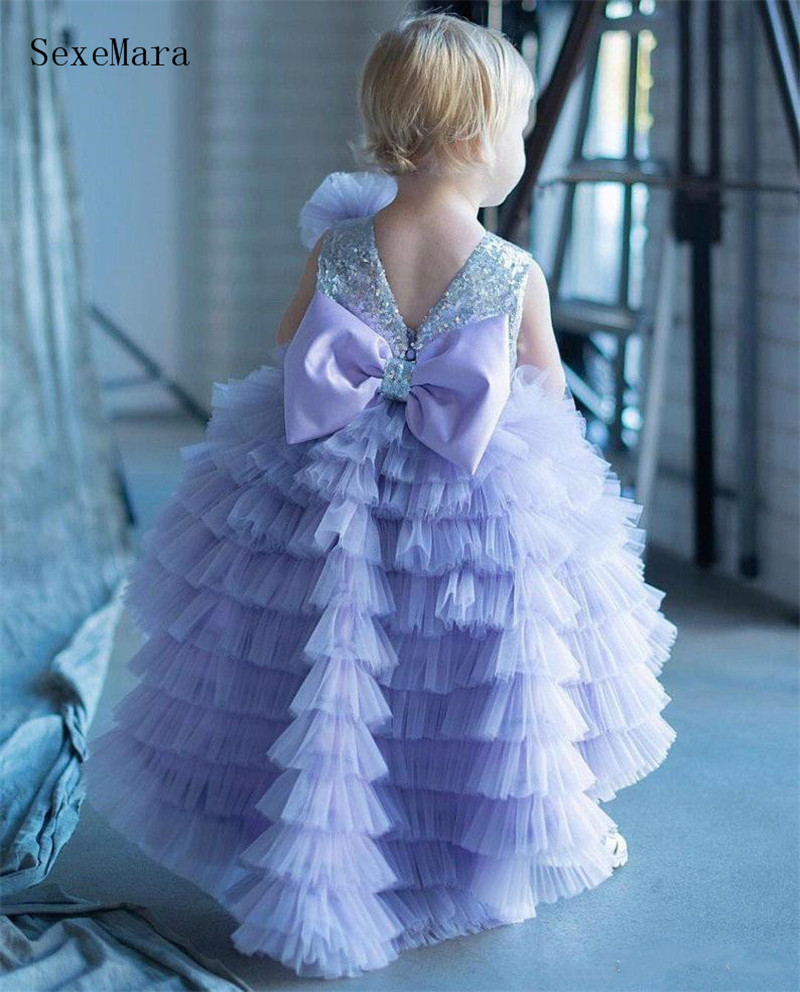 Cute Puffy Baby Infant Girl Birthday Party Dress with Bow Tiered Puffy Tulle Sequins Top Toddler Little Girl Cloth Pageant Gown