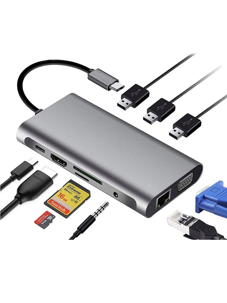 USB HUB Docking Station Type C Adapter USB 3.0 4K HDMI VGA RJ45 10 in 1 Converter for Macbook Pro Thunderbolt 3