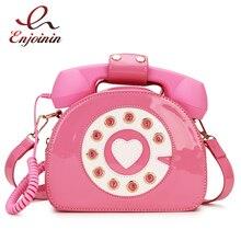 새로운 디자인 재미 빈티지 연인 전화 스타일 여성 지갑과 핸드백 숄더 백 2020 소녀를위한 패션 크로스 바디 백