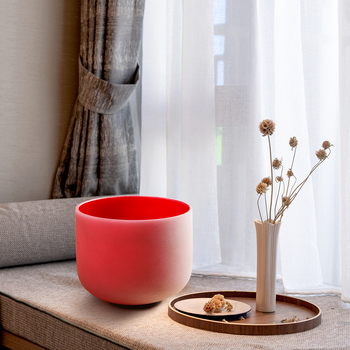 """TOPFUND 440hz/432hz C Note Root Chakra Red Color Frosted Quartz Crystal Singing Bowl 8"""""""