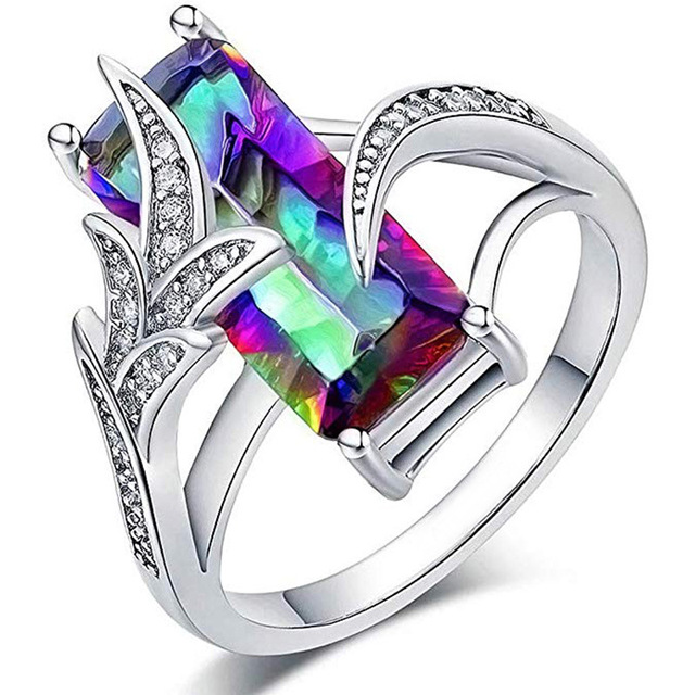 Anniversary Gift Rings For Women Luxury Long Cubic Zircon Stone