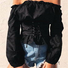 2020 сексуальные топы, Женский атласный корсет на шнуровке, блузка с рукавами-фонариками и открытыми плечами, рубашка, корсет, блузка для женщ...