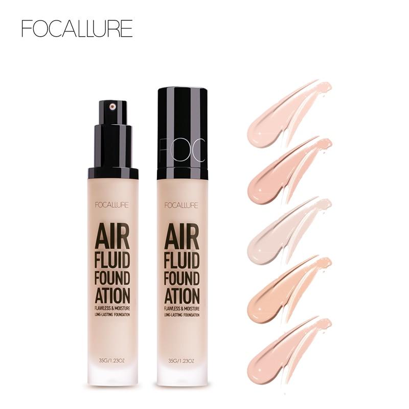 FOCALLURE New Air Fluid Foudation Cosmetic Moisturizing Liquid Foundation Concealer Waterproof Women Basic Makeup Long Lasting