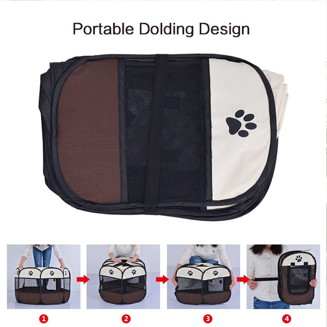 Pet Cage Portable Pet Tent Folding Dog House Cage Cat Tent Playpen Puppy Kennel Easy Operation Octagonal Fence Large Dogs House 3