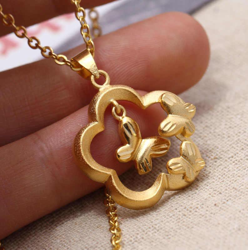 Uminoeki Wando Pesona Bunga Pernikahan Kupu-kupu Warna Emas Liontin Rantai Kalung untuk Wanita Wanita Warna Emas Perhiasan Trendi PNG Hadiah