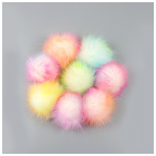 20 pcs/ lot Colorful Faux Fox Fur Pom Pom Ball for Women Bag Pendent Big Colorful Pompon Ball for Keychain Keychain Accessories цена