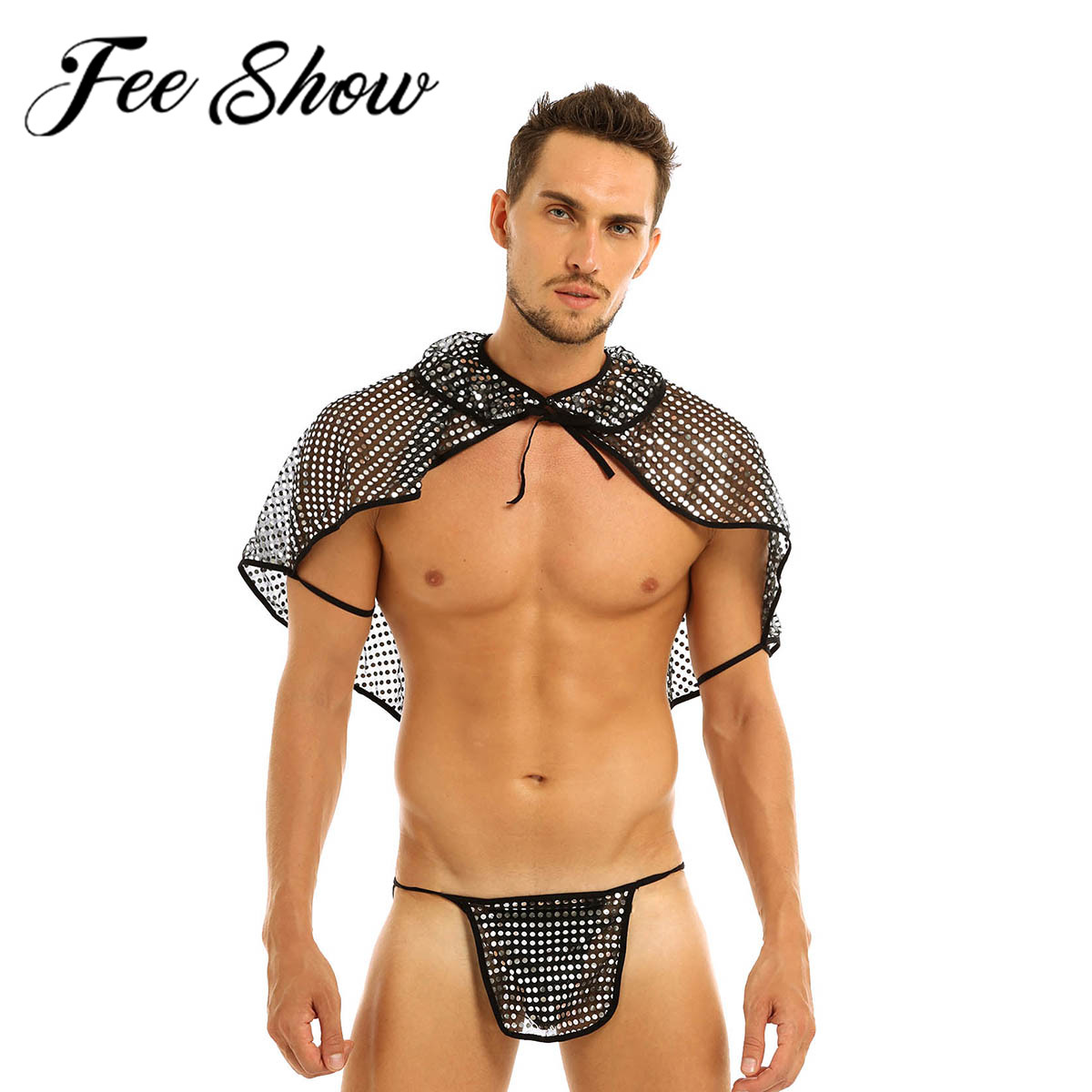 Mens Sissy <font><b>Lingerie</b></font> Sexy Costumes See Through Mesh Polka Sequins Roman Gladiator Role Play Cape Shawl G-string <font><b>Gay</b></font> Underwear <font><b>Set</b></font> image