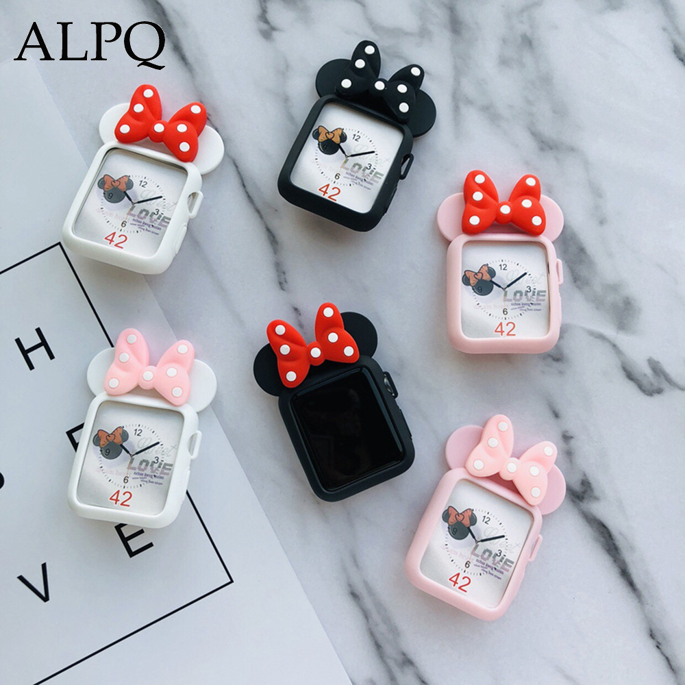 APQL Cartoon Silicone <font><b>Case</b></font> For <font><b>Apple</b></font> <font><b>Watch</b></font> <font><b>38mm</b></font> 40mm 42mm 44mm Cute Bow Knot Protective Cover For iWatch Series 5 1 2 <font><b>3</b></font> 4 image