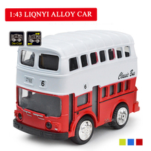 Kids Toys 1:43 Simulation Alloy Car Model Pull Back Alloy Children Car London Double Decker Bus For Children pull back car toys car children racing car baby mini cars cartoon pull back bus truck kids toys for children