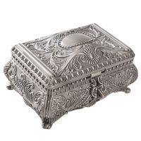 Vintage Jewelry Trinket Box Rectangle Box Metallic Floral Box Small Gift Storage