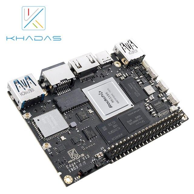 Khadas ordenador de placa única, SBC Edge V Pro RK3399 con DDR4 de 4G + 32GB EMMC5.1