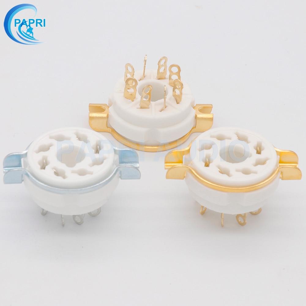 10PCS Ceramic 8PIN  Tube Socket K8A GZC8-1 Gold  Silver-plated Seat Tube Holder For KT88 6SN7 EL34 6L6 GZ34 5881 Etc Vacuum Tube