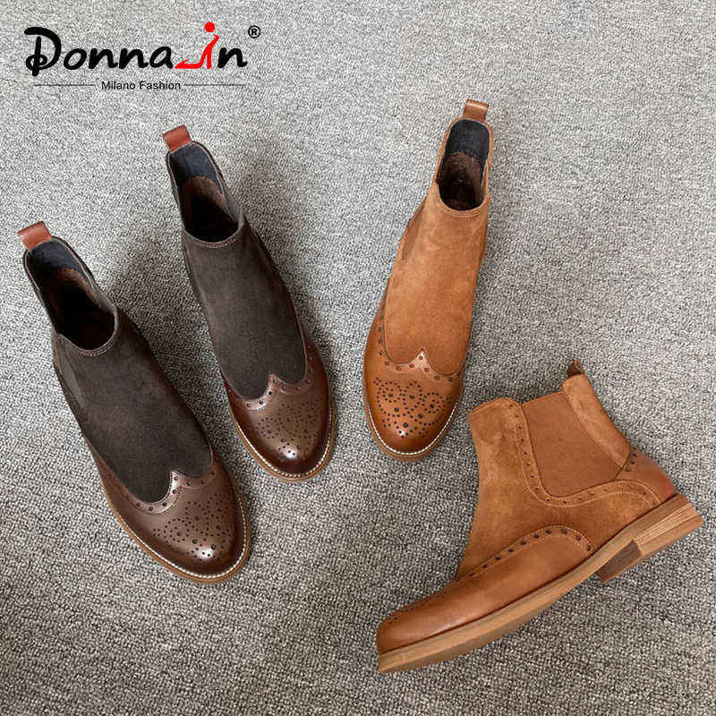 Donna-in gerçek deri süet Chelsea çizmeler kadın kısa peluş düşük topuklu oyma Bullock yarım çizmeler streç üzerinde kayma botas kahverengi