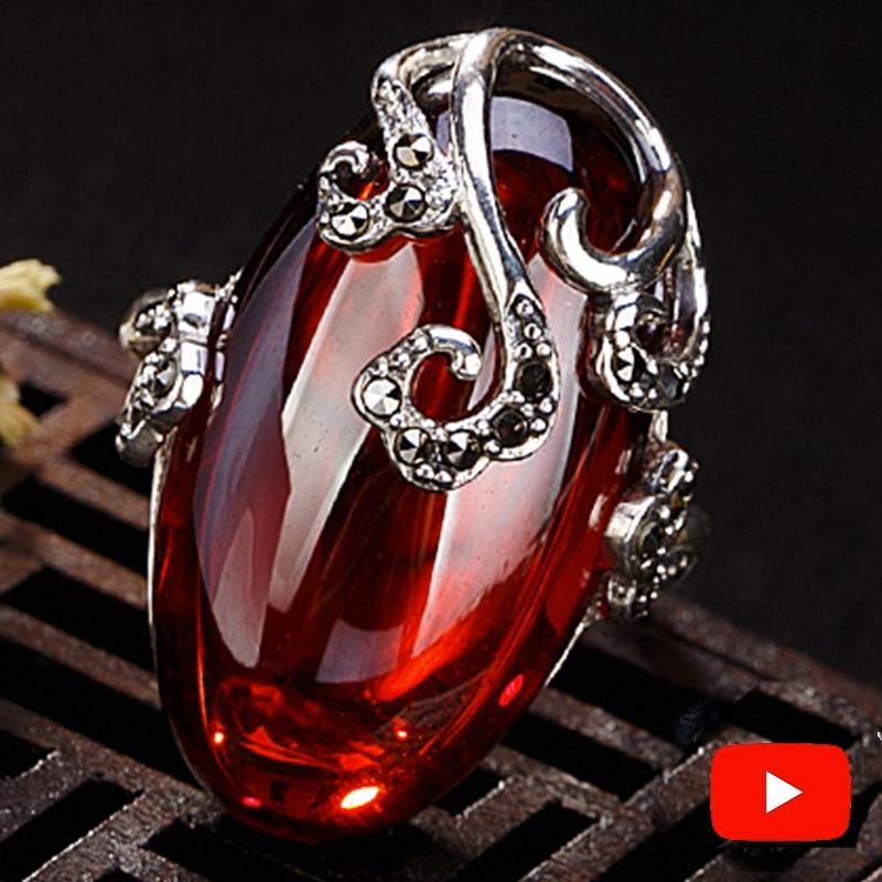 NOT FAKE S925 Fine Antique Shop Rings Ruby Rings Luxury Taste Women Handmade Vintage Natural Chalcedony Moldavite Peridot