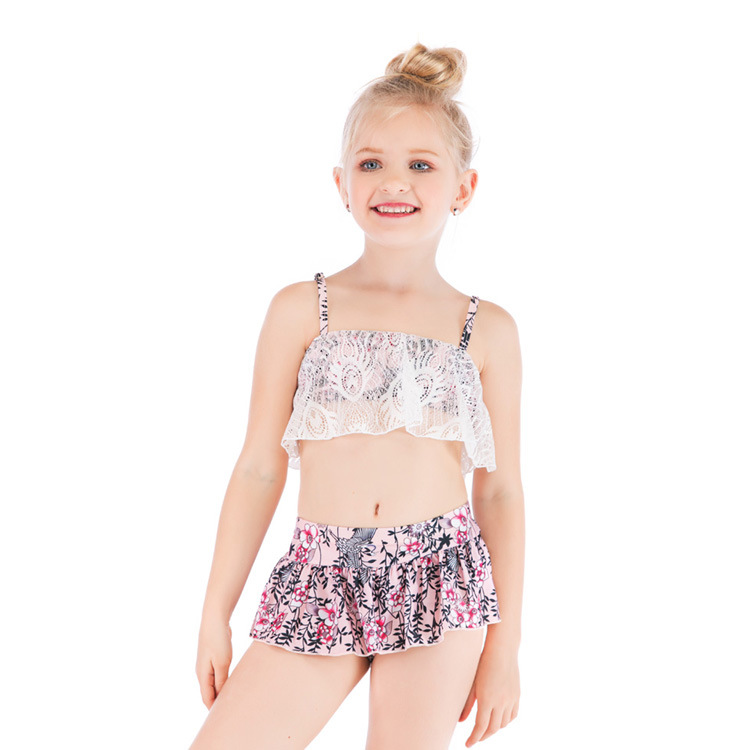 2019 CHILDREN'S Swimsuit Lace Boxers Floral-Print Split Type Swimsuit Bikini Swimwear