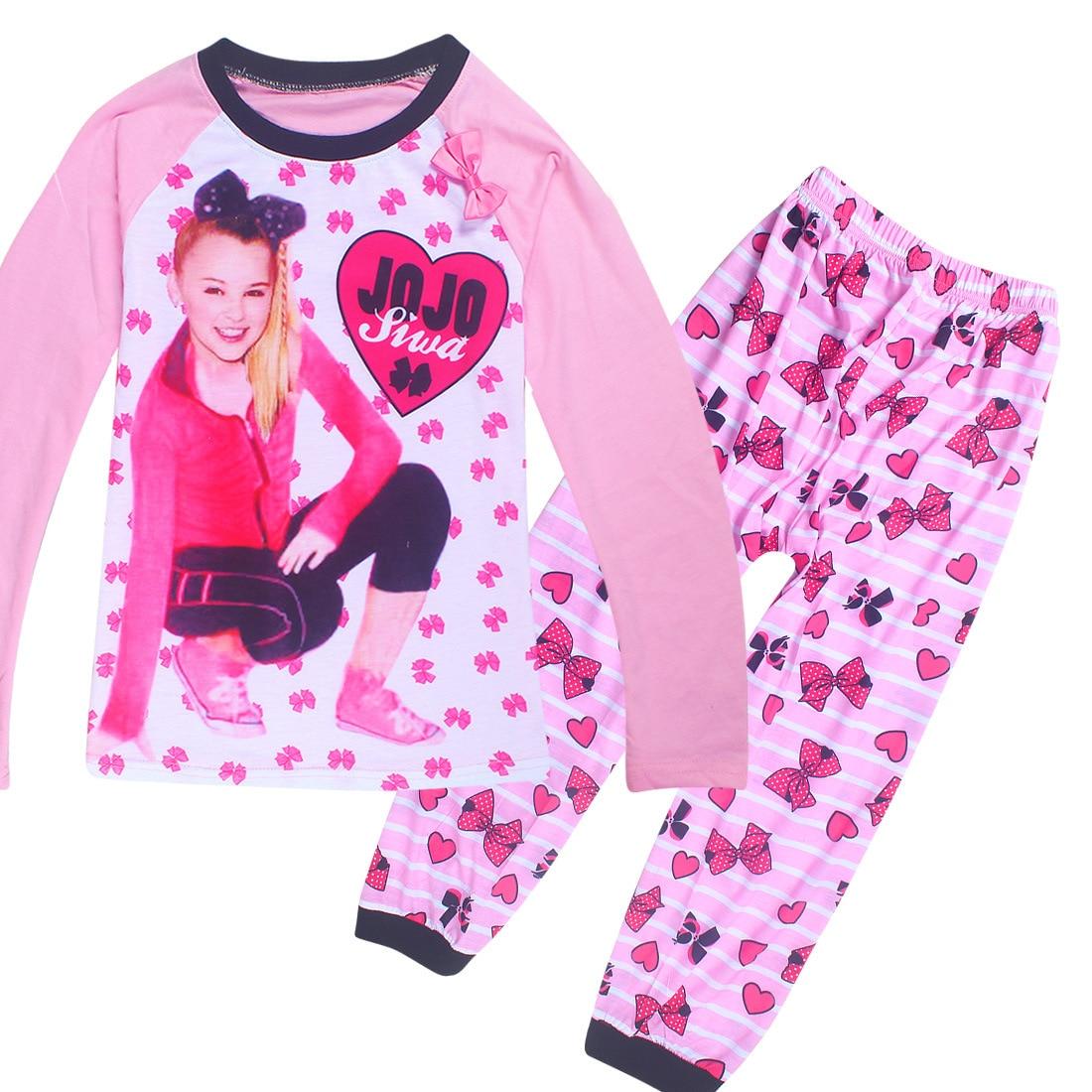 4-12 Years Jojo Siwa New Spring Autumn Children Pajamas For Baby Girls Teen Clothing Set Nightgown Cartoon Pyjamas Kids Clothes