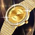 18 К золотые часы женские часы CRRJU женские модные часы женские часы люксовый бренд бриллиантовые кварцевые золотые наручные часы Подарки для...
