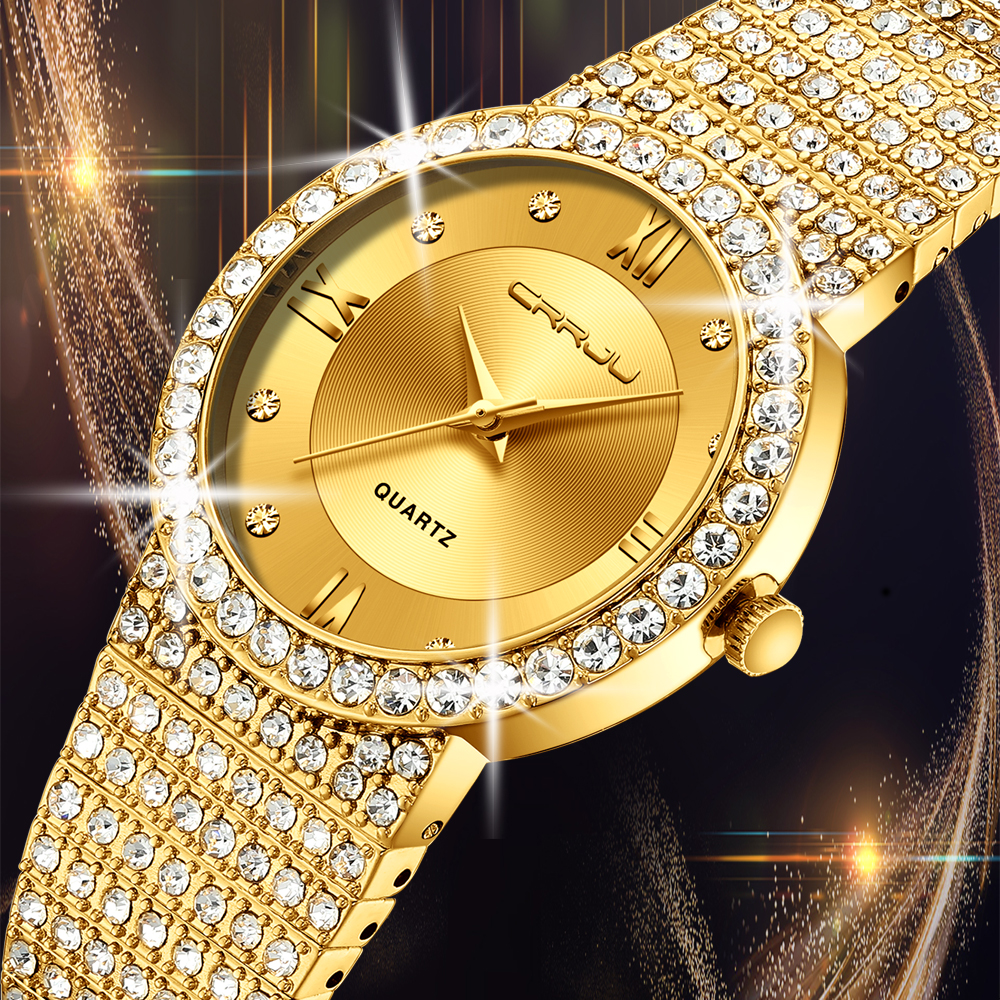 18K Gold Watch Women Watches CRRJU Women Fashion Watch Ladies Watch Luxury Brand Diamond Quartz Gold Wrist Watch Gifts For Women
