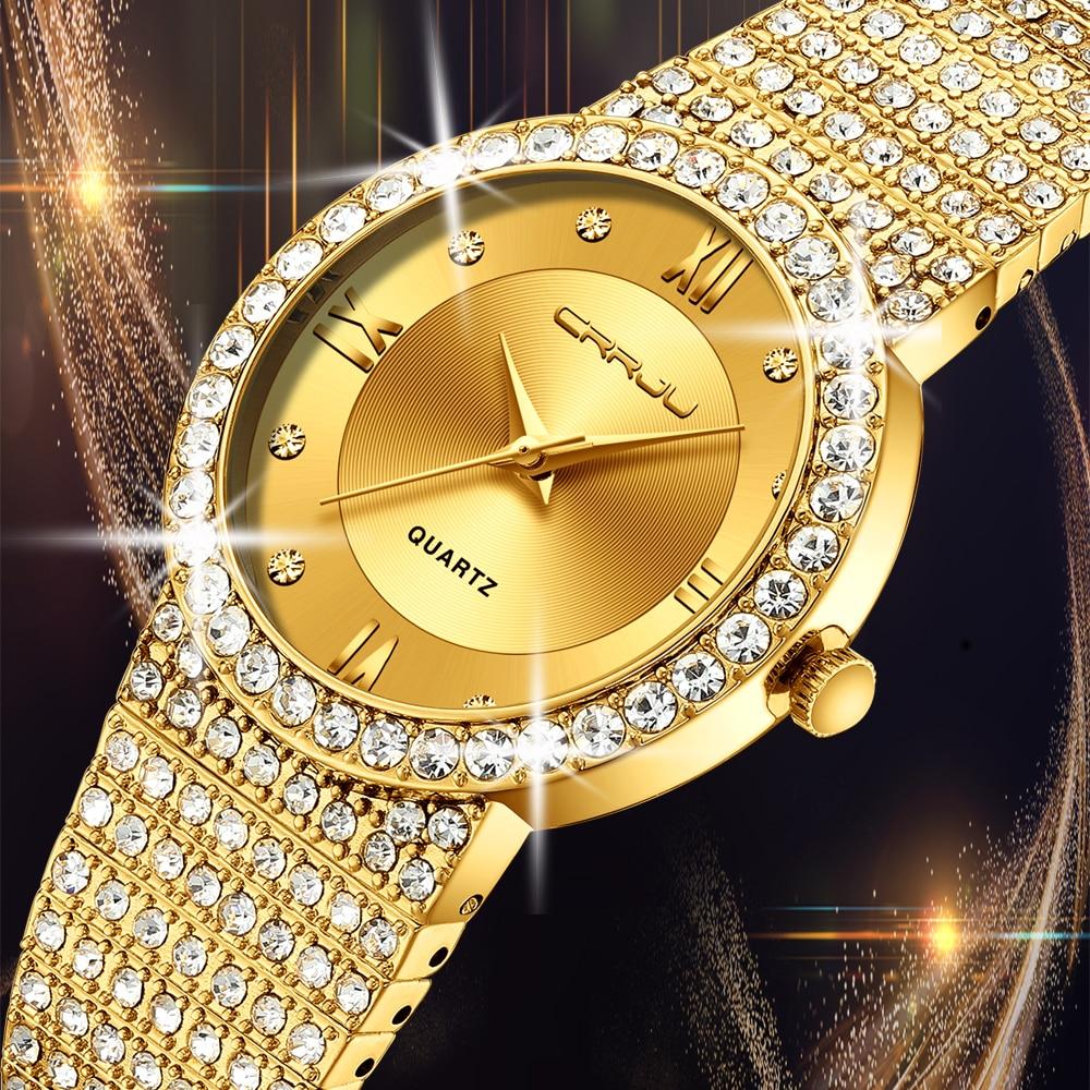 18K Gold Watch Women Watches CRRJU Women Fashion Watch Ladies Watch Luxury Brand Diamond Quartz Gold Wrist Watch Gifts For Women