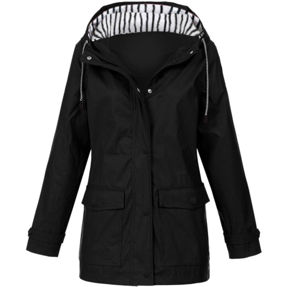 Women Solid Rain Jacket Outdoor Plus Waterproof Hooded Raincoat Windproof Women femme nouveaute 2019 свитер женский(China)