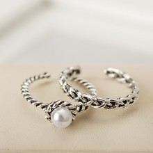 Korean version retro braided twist ring inlaid with pearl opening ring female fashion accessories