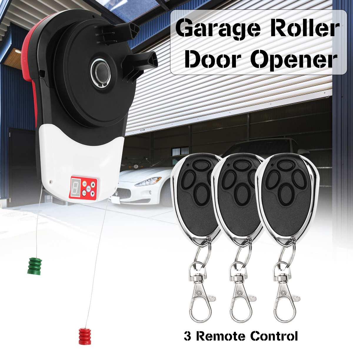 110V 600N Garage Roller Door Auto Opener Motor with 3 Remote Control Electric Operator for Rolling Gate Automatic Door Operators|Garage Door Hardware| |  - title=